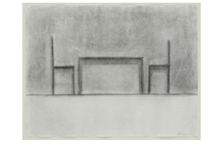 table and two chairs by richard artschwager