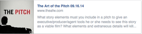 Academy of Film Writing September Classes 2014: The Art of the Pitch