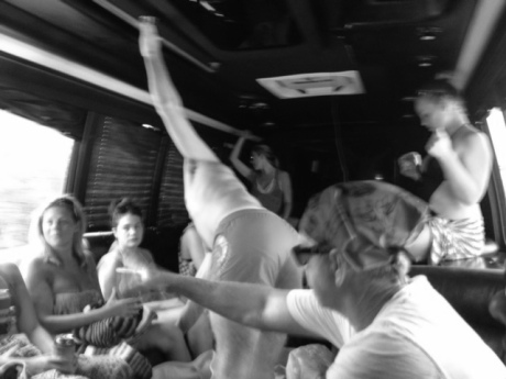 Also, party bus gynmastics!