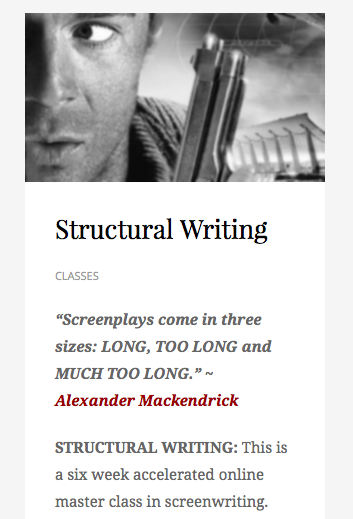 Coming in November from the Academy of Film Writing, Structural Writing