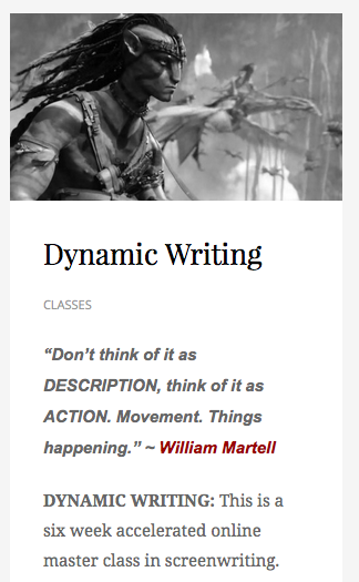 Coming in November at the Academy of Film Writing, Dynamic Writing