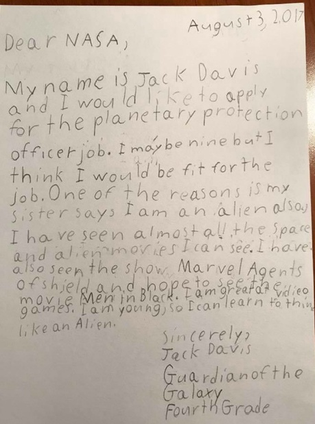 Jack Davis application to NASA