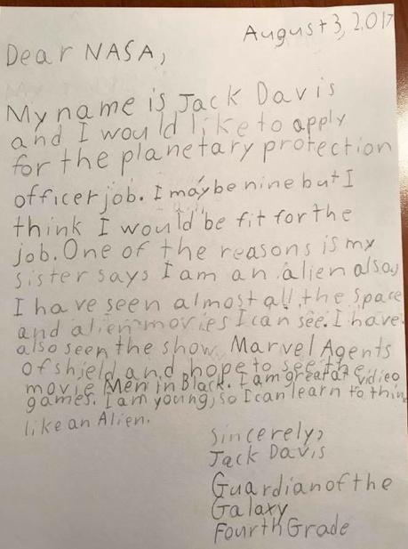 Jack Davis application to NASA